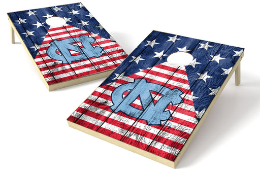 North Carolina Tar Heels 2x3 Cornhole Board Set - American Flag