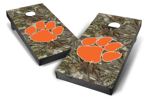 Clemson Tigers 2x4 Cornhole Board Set Onyx Stained - Realtree Max-1 Camo