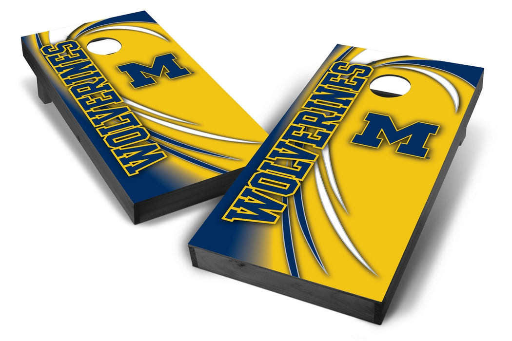 Michigan Wolverines 2x4 Cornhole Board Set Onyx Stained - Spiral