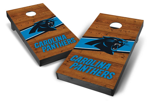 Carolina Panthers 2x4 Cornhole Board Set Onyx Stained - Logo