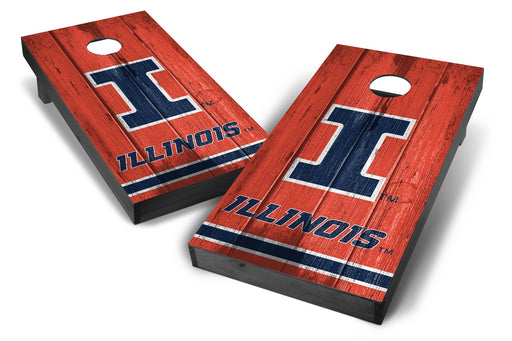 Illinois Fighting Illini 2x4 Cornhole Board Set Onyx Stained - Vintage
