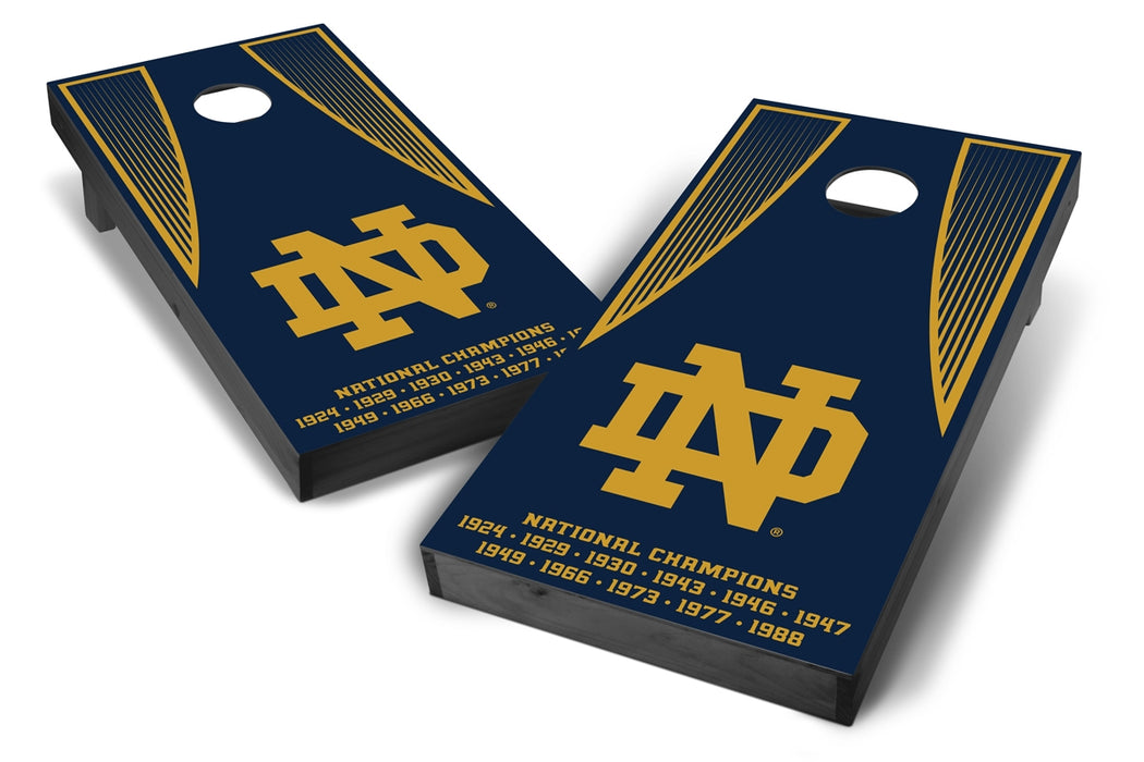Notre Dame Fighting Irish 2x4 Cornhole Board Set Onyx Stained - Champions