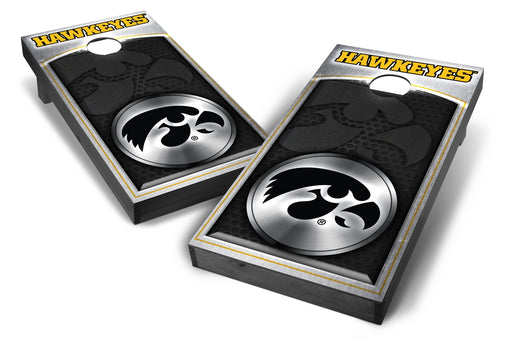Iowa Hawkeyes 2x4 Cornhole Board Set Onyx Stained - Medallion