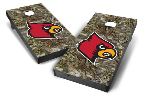 Louisville Cardinals 2x4 Cornhole Board Set Onyx Stained - Realtree Max-1 Camo