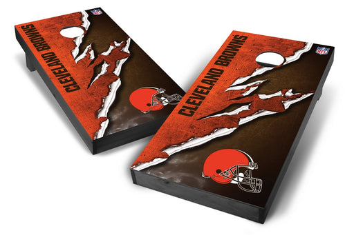 Cleveland Browns 2x4 Cornhole Board Set Onyx Stained - Ripped