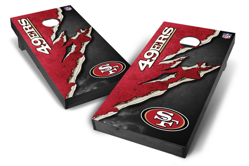 San Francisco 49ers 2x4 Cornhole Board Set Onyx Stained - Ripped