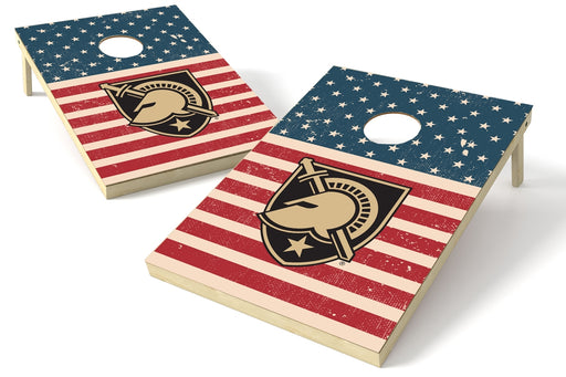 Army Black Knights 2x3 Cornhole Board Set - American Flag Weathered