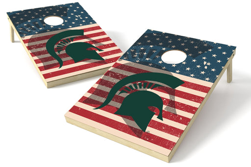 Michigan State Spartans 2x3 Cornhole Board Set - American Flag Weathered