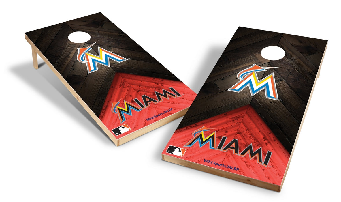 Miami Marlins 2x4 Cornhole Board Set - Weathered