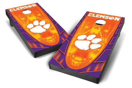 Clemson Tigers 2x4 Cornhole Board Set Onyx Stained - Hot