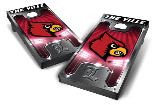 Louisville Cardinals 2x4 Cornhole Board Set Onyx Stained - Plate