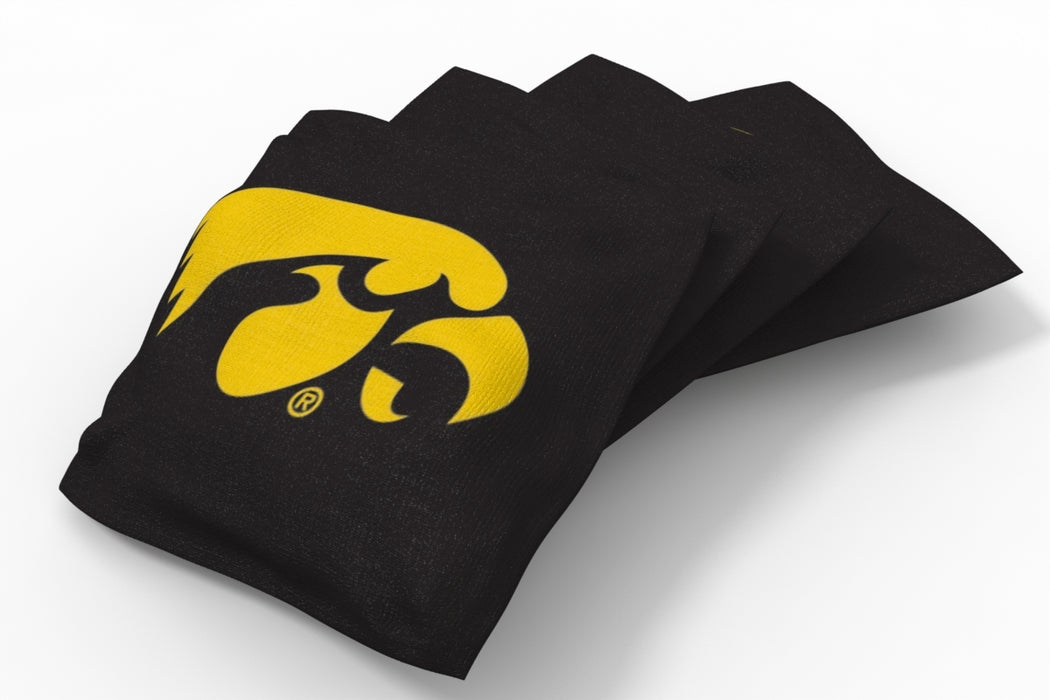 Iowa Hawkeyes 2x4 Cornhole Board Set Onyx Stained - Logo