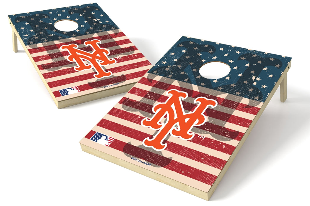 New York Mets 2x3 Cornhole Board Set - American Flag Weathered