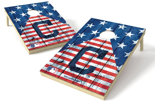 Cleveland Indians 2x3 Cornhole Board Set - American Flag