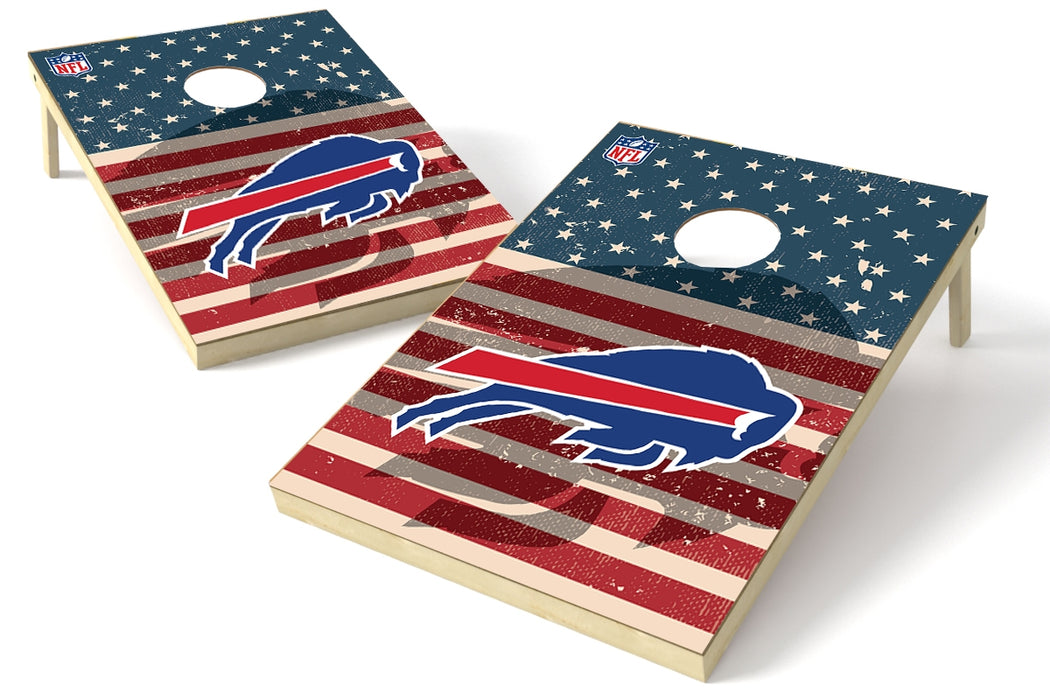 Buffalo Bills 2x3 Cornhole Board Set - American Flag Weathered