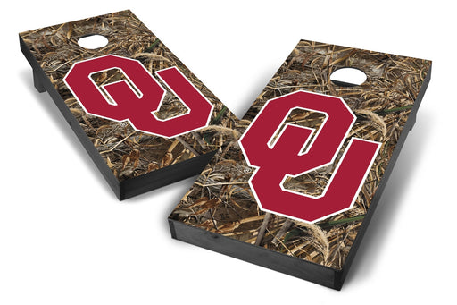 Oklahoma Sooners 2x4 Cornhole Board Set Onyx Stained - Realtree Max-5 Camo