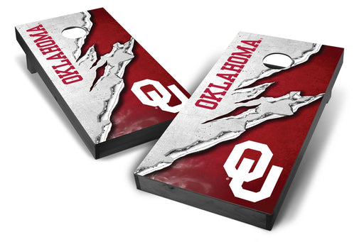 Oklahoma Sooners 2x4 Cornhole Board Set Onyx Stained -  Ripped