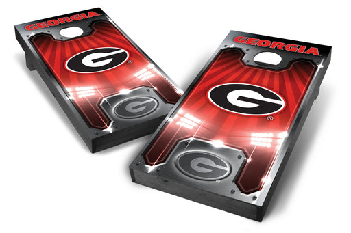 Georgia Bulldogs 2x4 Cornhole Board Set Onyx Stained - Plate