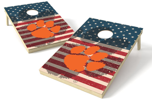 Clemson Tigers 2x3 Cornhole Board Set - American Flag Weathered