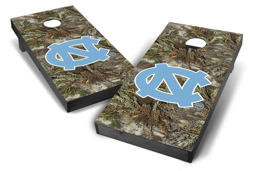 North Carolina Tar Heels 2x4 Cornhole Board Set Onyx Stained - Realtree Max-1 Camo