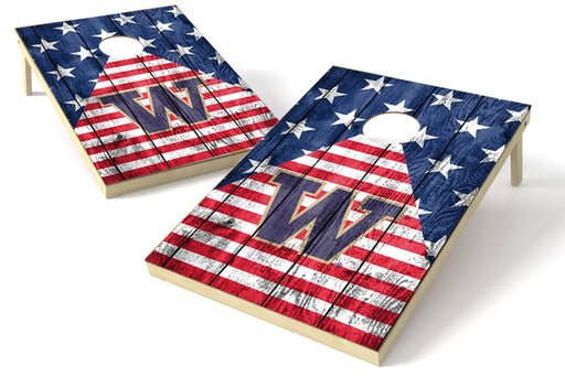 Washington Huskies 2x3 Cornhole Board Set - American Flag