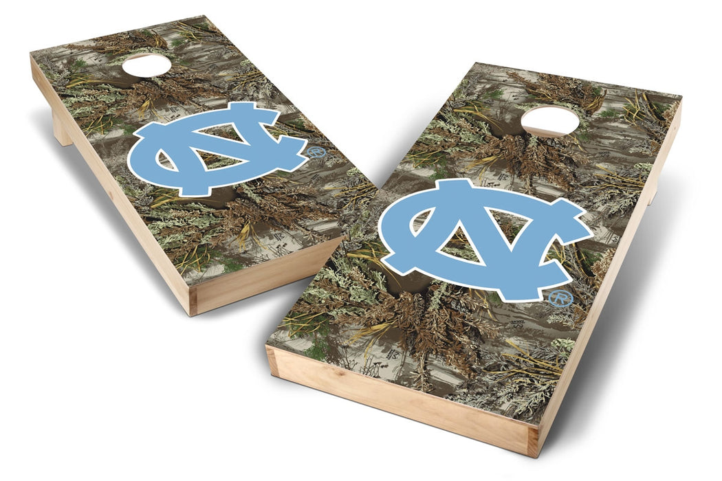 North Carolina Tar Heels 2x4 Cornhole Board Set - Realtree Max-1 Camo