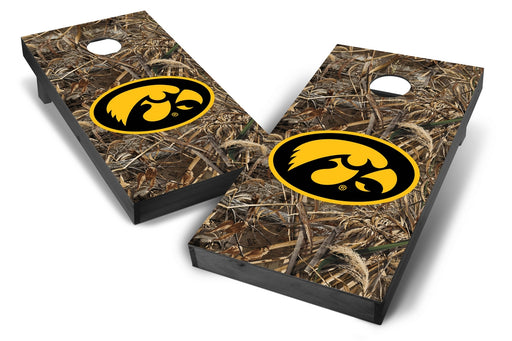 Iowa Hawkeyes 2x4 Cornhole Board Set Onyx Stained - Realtree Max-5 Camo