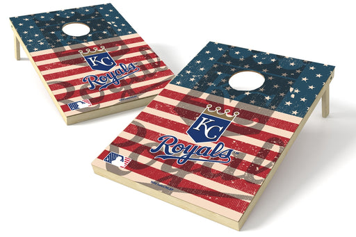 Kansas City Royals 2x3 Cornhole Board Set - American Flag Weathered