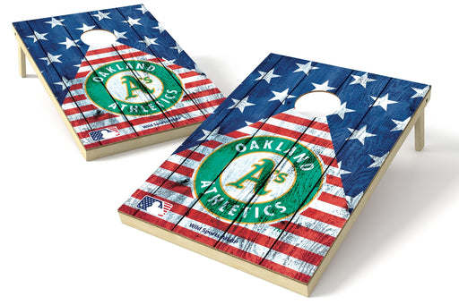 Oakland Athletics 2x3 Cornhole Board Set - American Flag