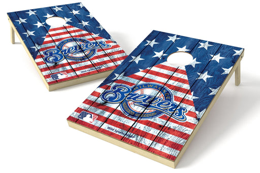 Milwaukee Brewers 2x3 Cornhole Board Set - American Flag