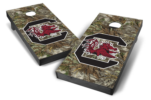 South Carolina Gamecocks 2x4 Cornhole Board Set Onyx Stained - Realtree Max-1 Camo