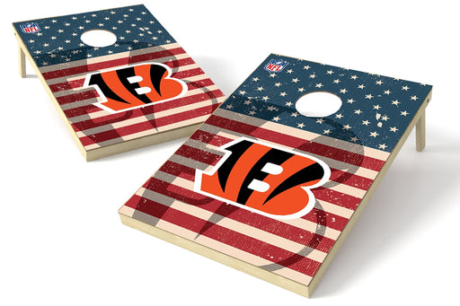 Cincinnati Bengals 2x3 Cornhole Board Set - American Flag Weathered