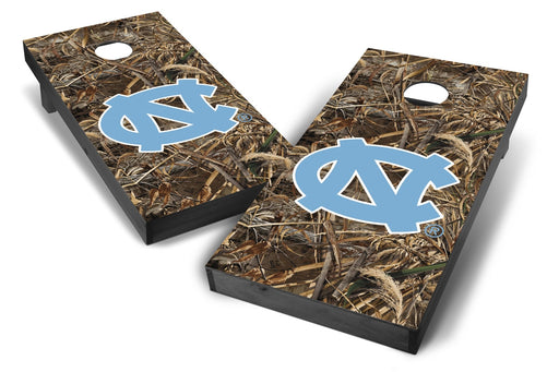 North Carolina Tar Heels 2x4 Cornhole Board Set Onyx Stained - Realtree Max-5 Camo