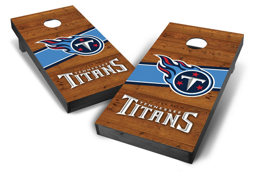 Tennessee Titans 2x4 Cornhole Board Set Onyx Stained - Logo