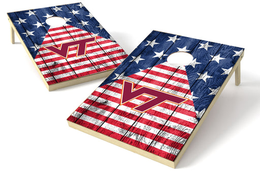 Virginia Tech Hokies 2x3 Cornhole Board Set - American Flag