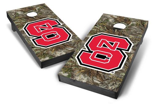 NC State Wolfpack 2x4 Cornhole Board Set Onyx Stained - Realtree Max-1 Camo