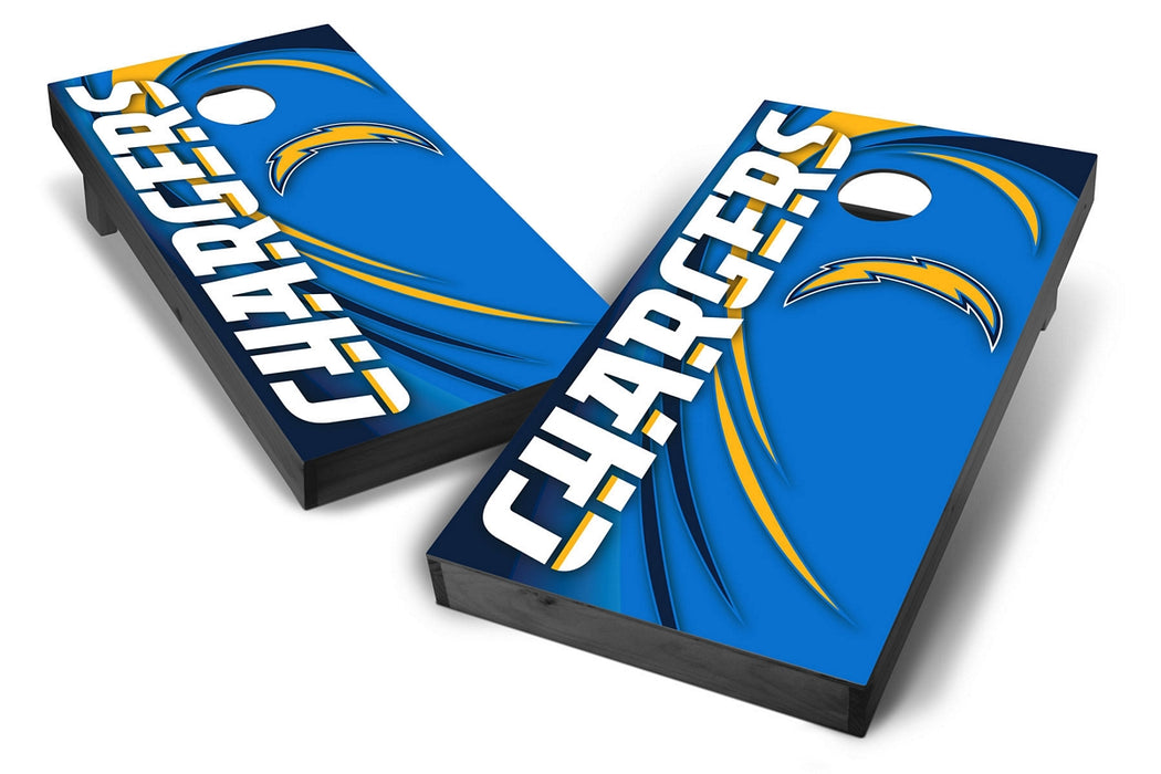 Los Angeles Chargers 2x4 Cornhole Board Set Onyx Stained - Spiral