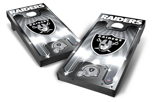 Oakland Raiders 2x4 Cornhole Board Set Onyx Stained - Plate