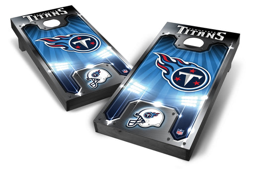 Tennessee Titans 2x4 Cornhole Board Set Onyx Stained - Plate