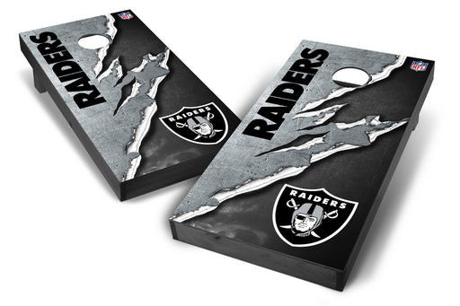 Oakland Raiders 2x4 Cornhole Board Set Onyx Stained - Ripped