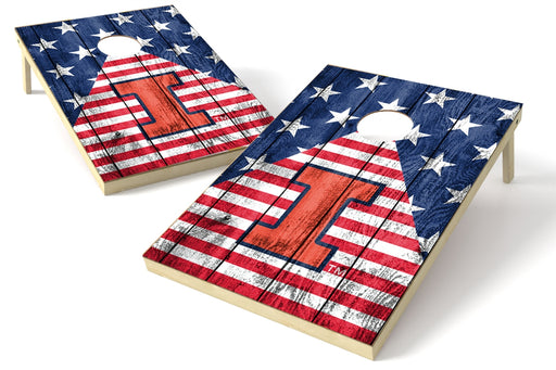 Illinois Fighting Illini 2x3 Cornhole Board Set - American Flag