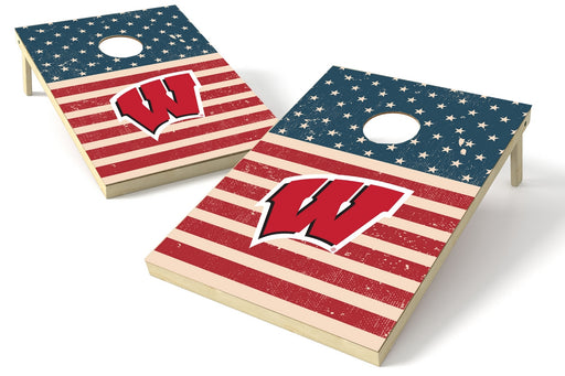 Wisconsin Badgers 2x3 Cornhole Board Set - American Flag Weathered