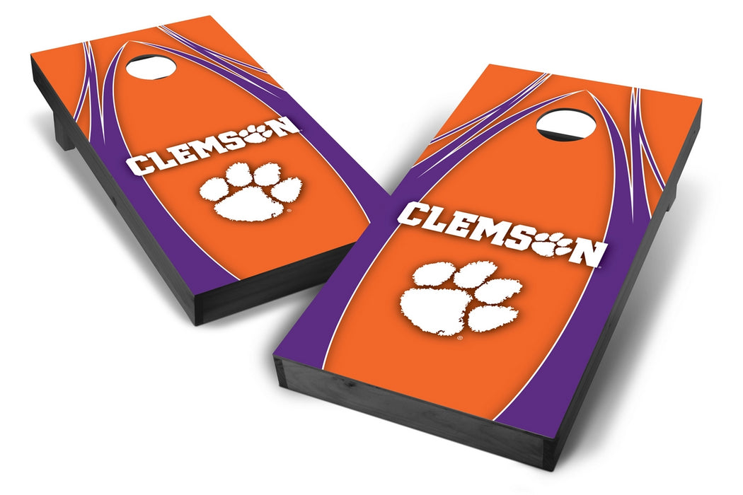 Clemson Tigers 2x4 Cornhole Board Set Onyx Stained - Edge