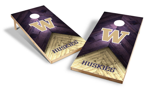 Washington Huskies 2x4 Cornhole Board Set - Weathered