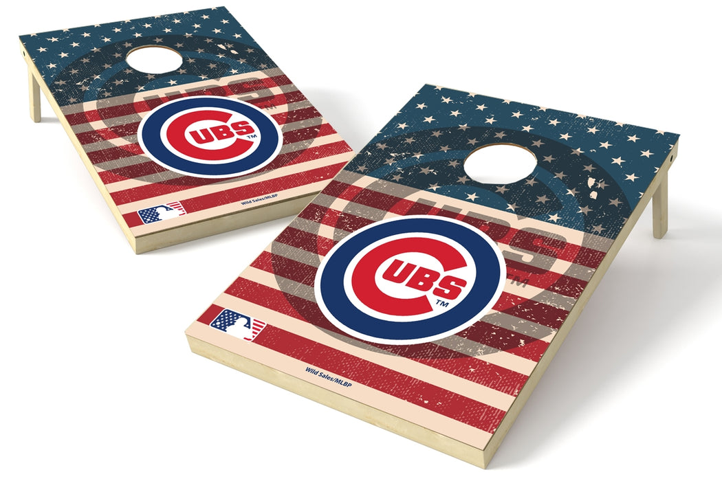 Chicago Cubs 2x3 Cornhole Board Set - American Flag Weathered