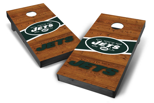 New York Jets 2x4 Cornhole Board Set Onyx Stained - Logo