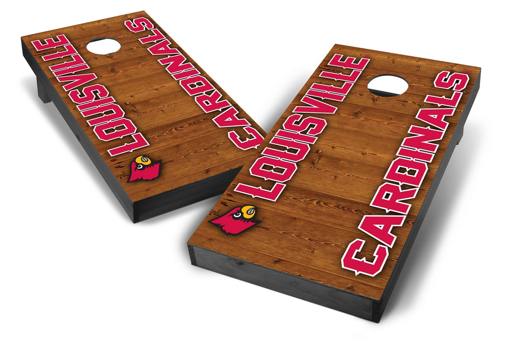 Louisville Cardinals 2x4 Cornhole Board Set Onyx Stained - Vertical