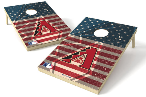 Arizona Diamondbacks 2x3 Cornhole Board Set - American Flag Weathered