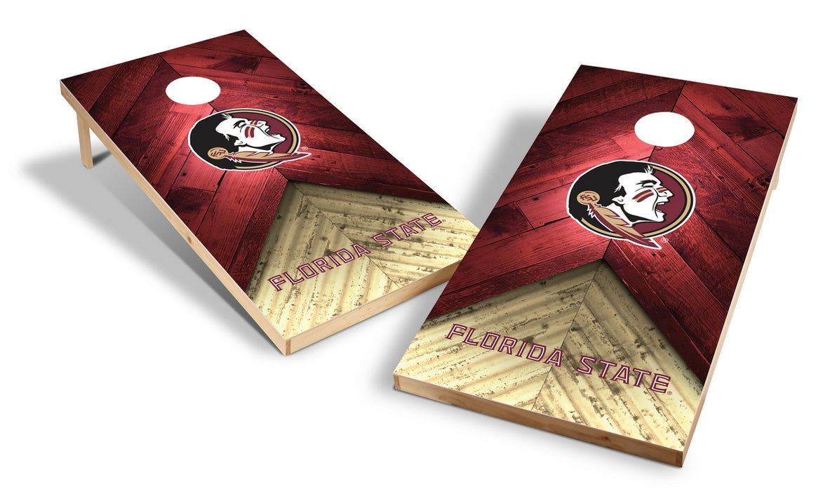 Florida State Seminoles 2x4 Cornhole Board Set - Weathered