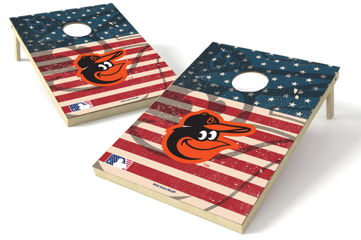Baltimore Orioles 2x3 Cornhole Board Set - American Flag Weathered